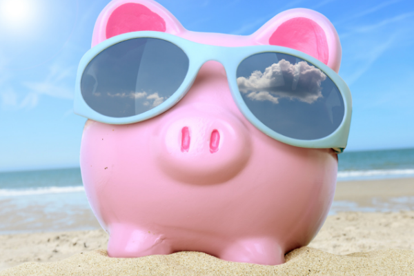 Summer Savings Tips Piggy Bank with Sunglasses